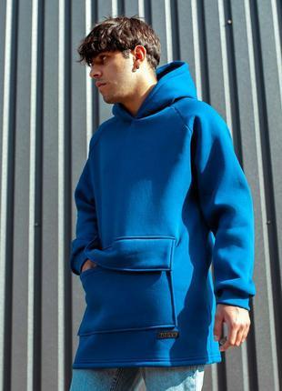 Мужской худи South basic fleece oversize, цвет синий/мятный