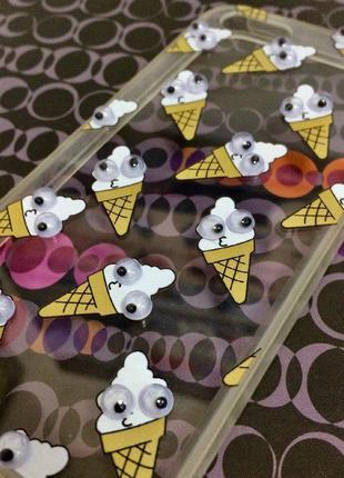 Чехол на iPhone 5/5S/SE глаза, мороженое, 3Д, силикон/TPU