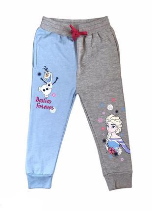 Тёплые яркие спортивны штаны на байке, frozen, disney, 104-110