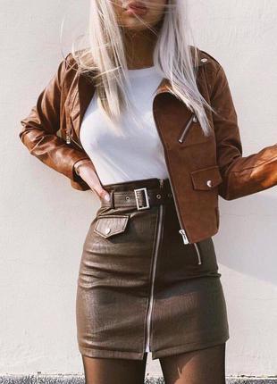 Юбки на молнии с ремешком в коричневом цвете 🖤 мягкая эко-кожа...