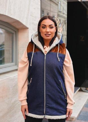 Женская теплая джинсовая жилетка на меху (553)