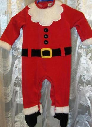 Новогодний костюм из  велюра для маленького деда мороза.