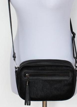 Классная сумка натуральная кожа мех пони borse in pelle italy