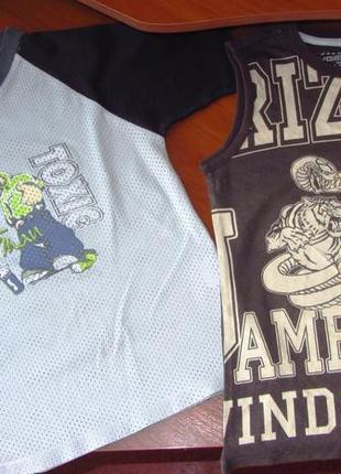 Футболка сеточка и футболка безрукавка  на 8-10 лет одним лотом