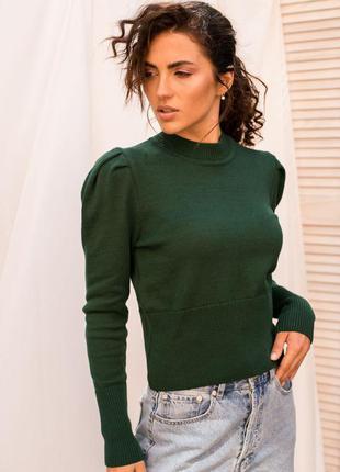 Вязаный свитшот/свитер/кофта  с рукавами фонариками