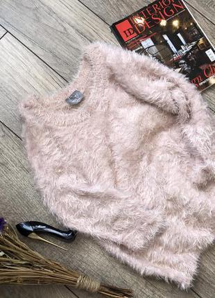 Волосатый , мягенький пудровый свитер, свитер травка