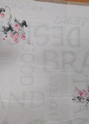Шикарный большой шелковый платок с росписью