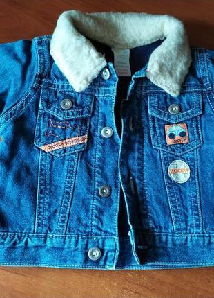 Джинсовая курточка, утепленная трикотажной подкладкой