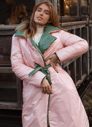 Двухсторонний пуховик-одеяло из лаковой плащевки розовый/хаки