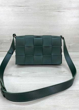 Женская зеленая плетеная сумка кросс-боди зеленого цвета
