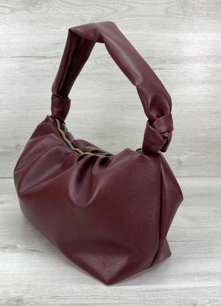 Женская бордовая модная сумка с ручкой бордового цвета