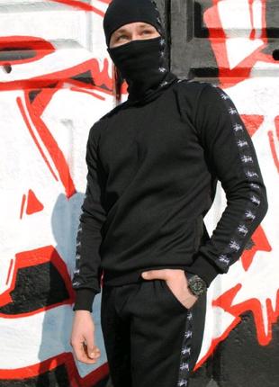 Свитшот утеплённый чёрный с лампасами Stussy