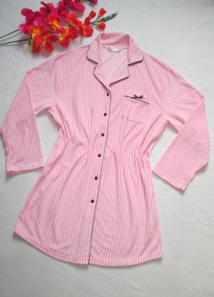Классный флисовый тепленький короткий халат рубаха в полоску i...
