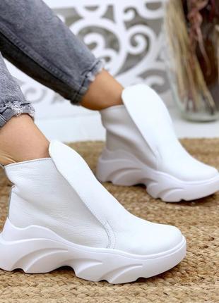 Натуральная кожа осенние кожаные ботинки на массивной подошве