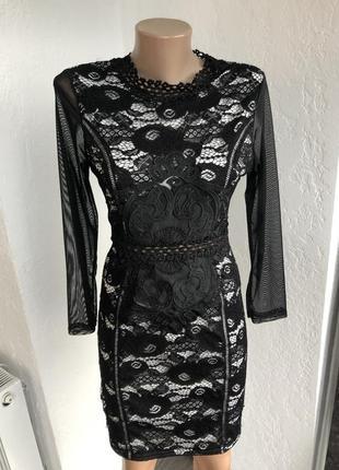 Ажурное платье с рукавами сеткой