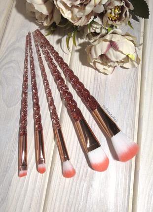 5 шт в чехле кисти для макияжа набор rose/gold ручки единорог ...