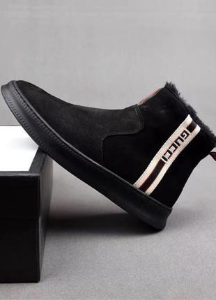Ботинки мужские Gucci Winter Web Stripe Black