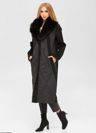 Пальто женское черное демисезонное с меховым воротником размер...