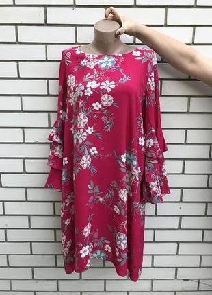 Цветочное платье,туника с рюшами,воланами по рукавах,этно,бохо...