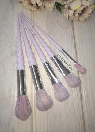 5 шт кисти для макияжа набор единорог white/rainbow probeauty