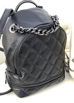 Женский кожаный маленький рюкзачок сумка италия кроссбоди