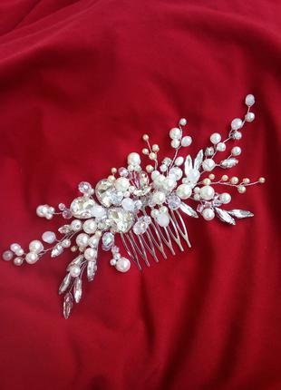 Свадебная веточка-гребешок для украшения волос.