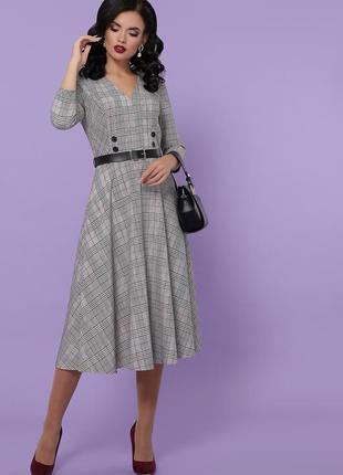 Стильное платье для офиса с пояском