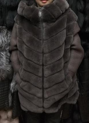 Шуба кардиган натуральный кролик рекс трансформер все размеры