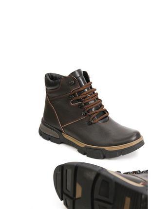 Зимние мужские ботинки из натуральной темно-коричневой кожи