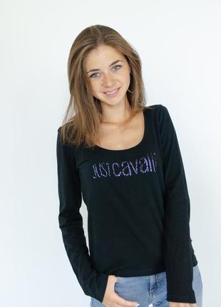 Just cavalli черный джемпер с логотипом из бисера, брендовая п...