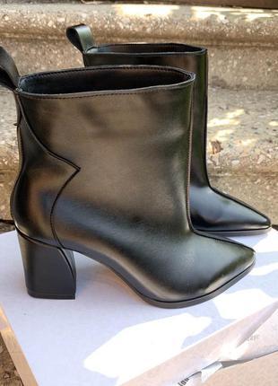 Ботильоны женские кожаные черные на каблуке, демисезонные