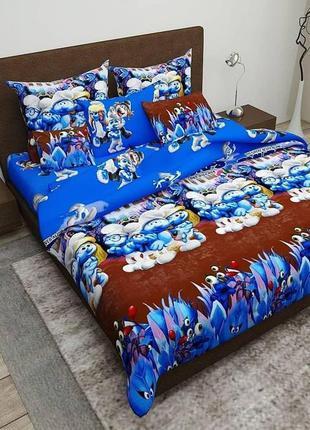 Комплект постельного белья смурфики