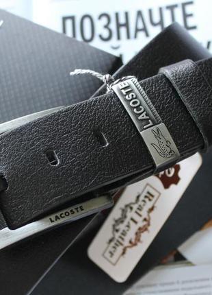 Мужской кожаный ремень для джинсов lacoste black