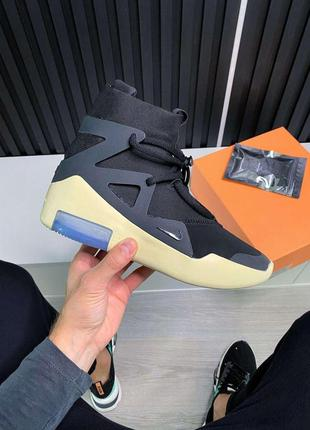 Nike air fear of god 1 black женские кожаные кроссовки черного...