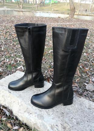 Сапоги женские зимние кожаные классические широкое голенище ук...