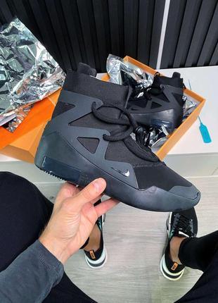 Nike air fear of god 1 triple black мужские кожаные кроссовки ...