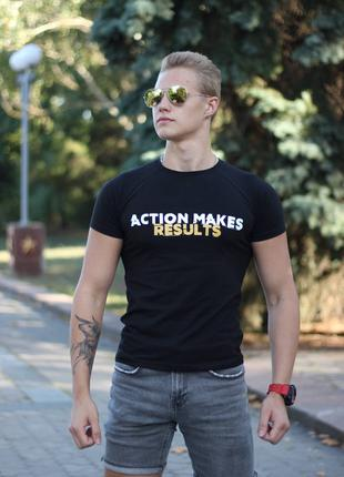 "Футболка чёрная ""Action makes results"""