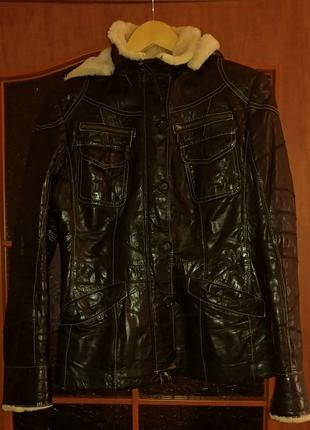 Куртка зимняя кожаная на меху