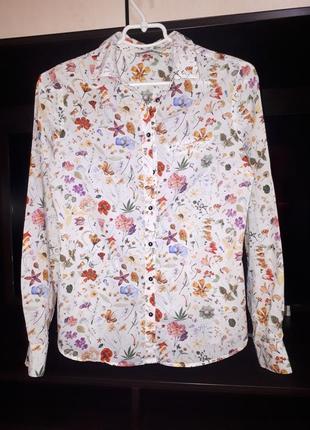 Коттоновая рубашка в цветочный принт раз. s