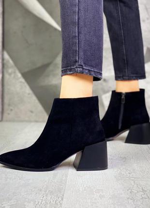 ❤ женские черные замшевые осенние демисезонные ботинки ботильо...