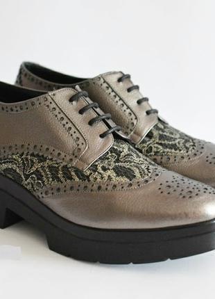 Кожаные туфли броги ALBANO Италия оригинал 40 новые
