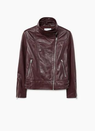 Кожаная куртка mango р. s, оригинал косуха с лацканами,курточк...