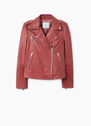 Кожаная куртка mango р. xs, оригинал косуха с лацканами, курто...