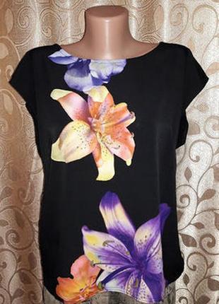 🌺🎀🌺красивая женская черная футболка, блузка в цветочный принт ...
