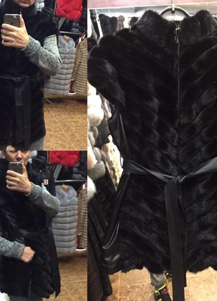 Жилетка шуба натуральная норка хвост кожа все размеры