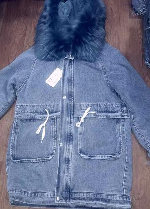 Женская  куртка джинсовая тёплая