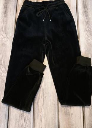 Велюровые джоггеры на меху, велюровые штаны на манжете, теплые...