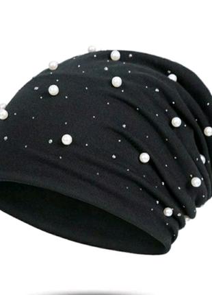 Стильные женские шапки с бусинками/ жемчужинами и камнями