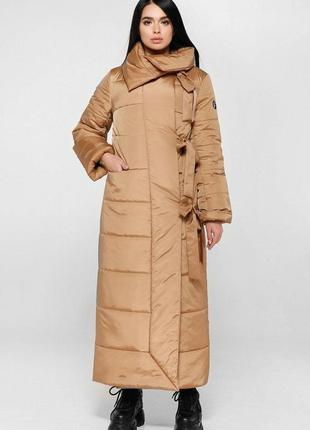 Пуховик зимний длинный, пальто стеганое
