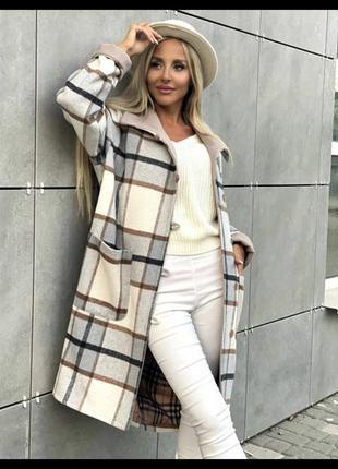 Пальто женское в клетку кашемир